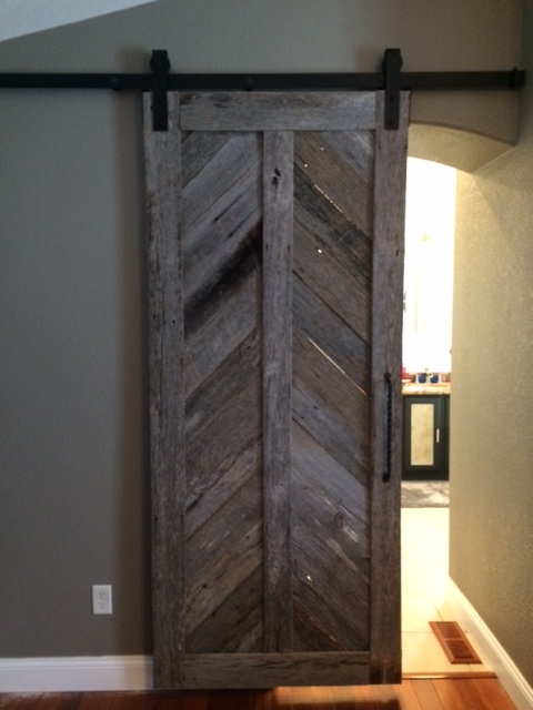 Reclaimed wood sliding barn door Fine Art Custom Furniture Boulder Denver Colorado