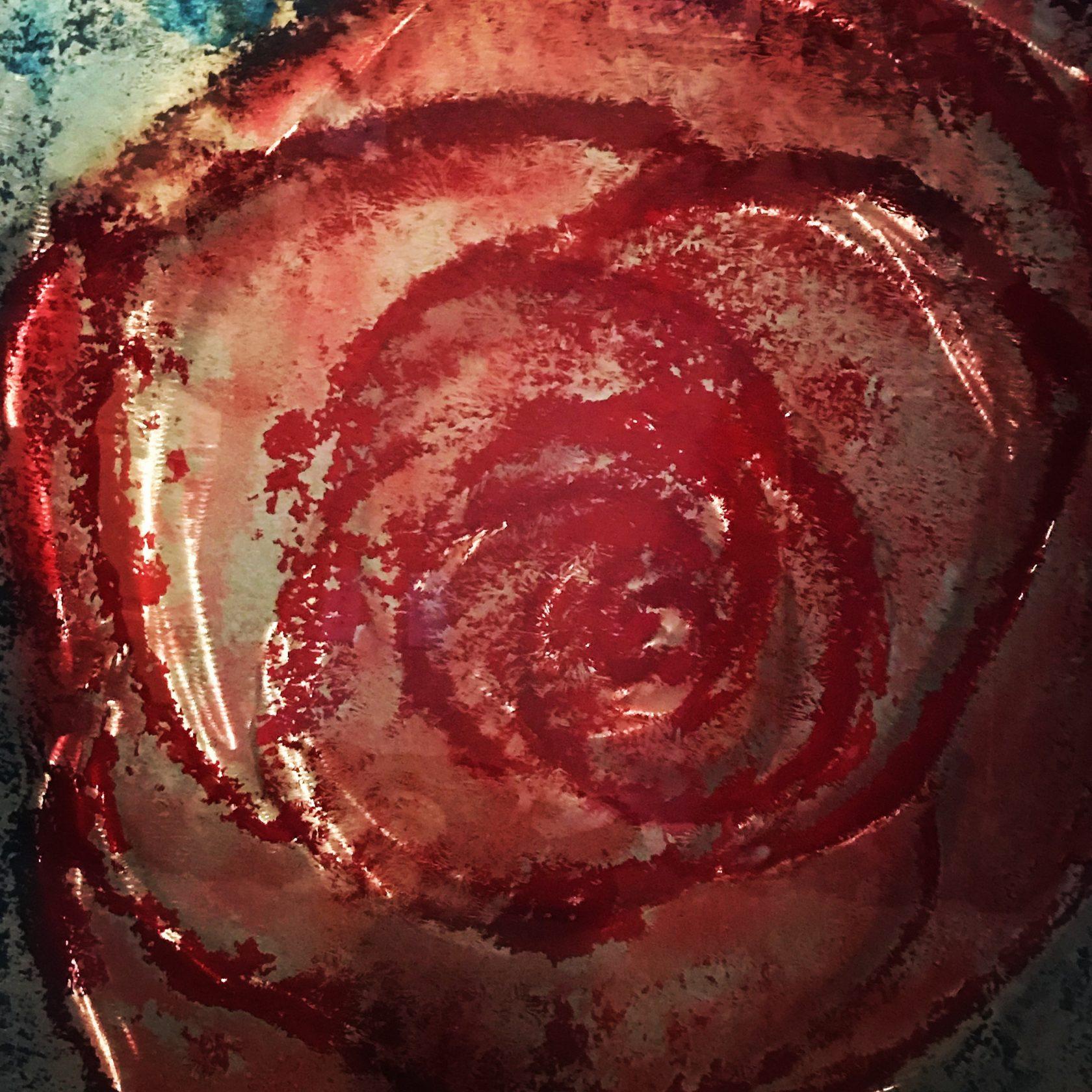 fine art red rose metal art