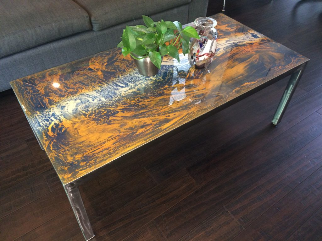 abstract metal coffee table